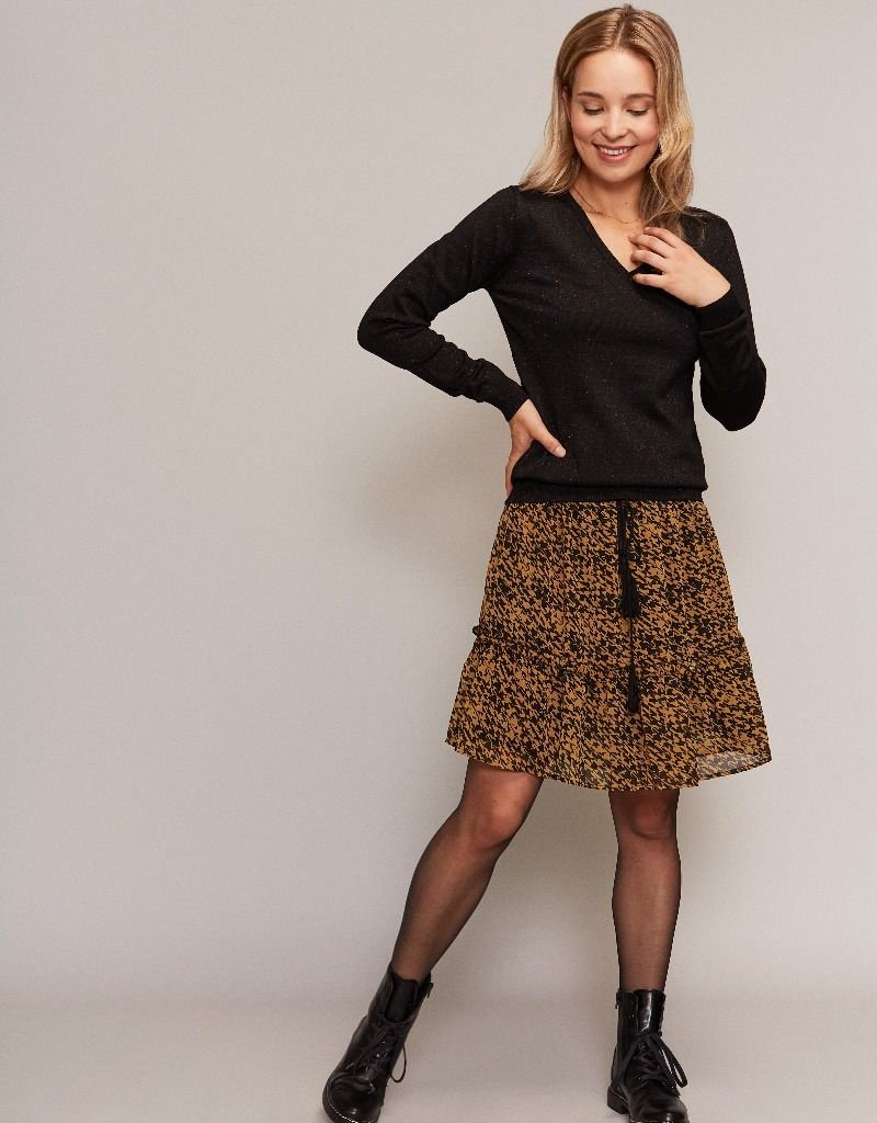 C&S  Skirt Yellow ocher Black with Ruffles