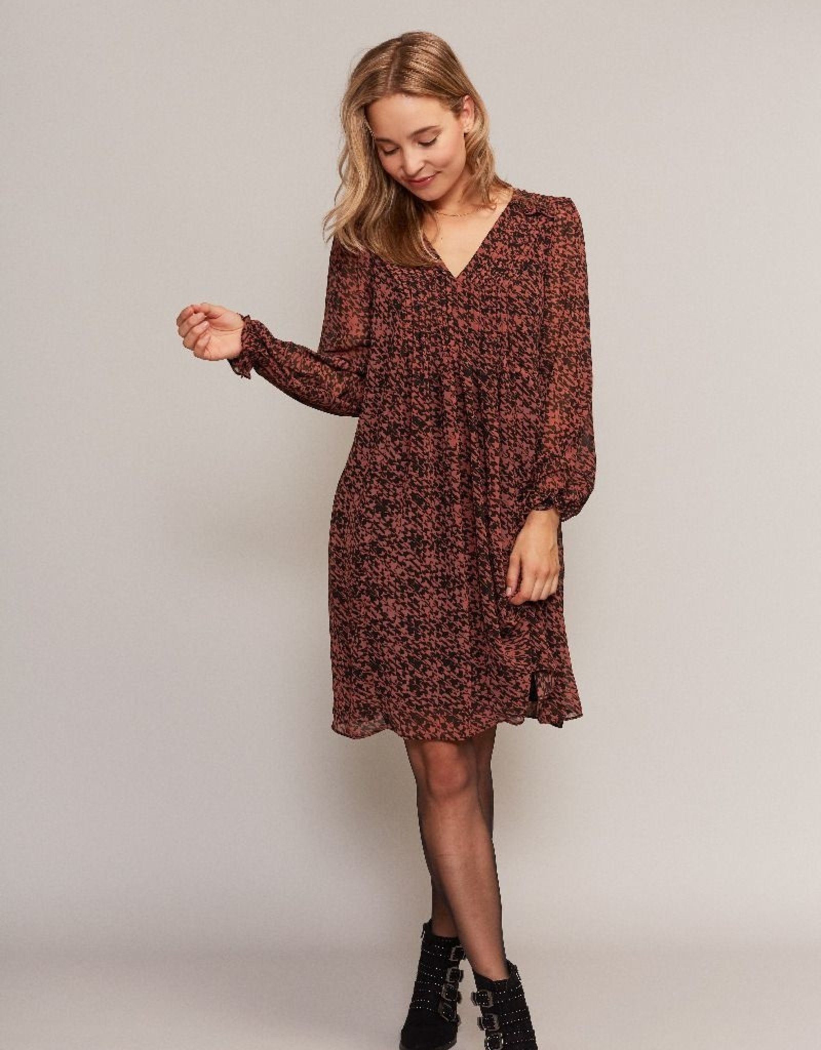 C&S Dress Rust brown with Black