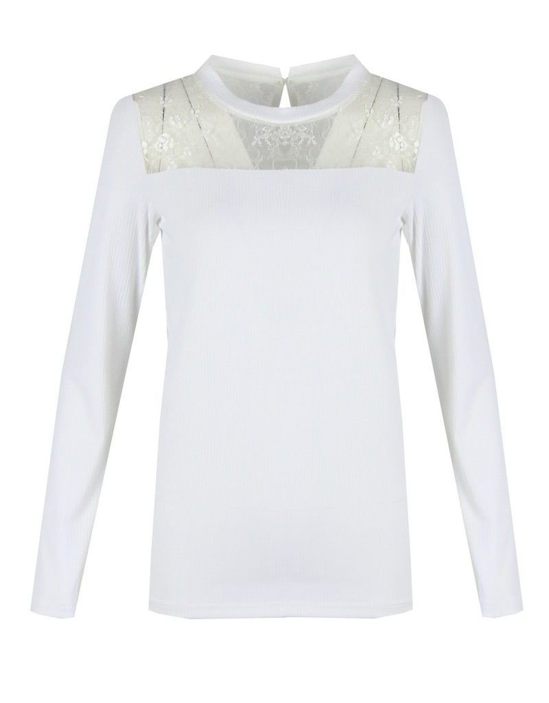 C&S  Top White With Lace