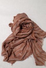 C&S Dames Sjaal Roestbruin met Glitters 195 x 83 cm