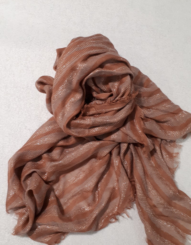 C&S Ladies Scarf Rust brown with glitter 195 x 83 cm