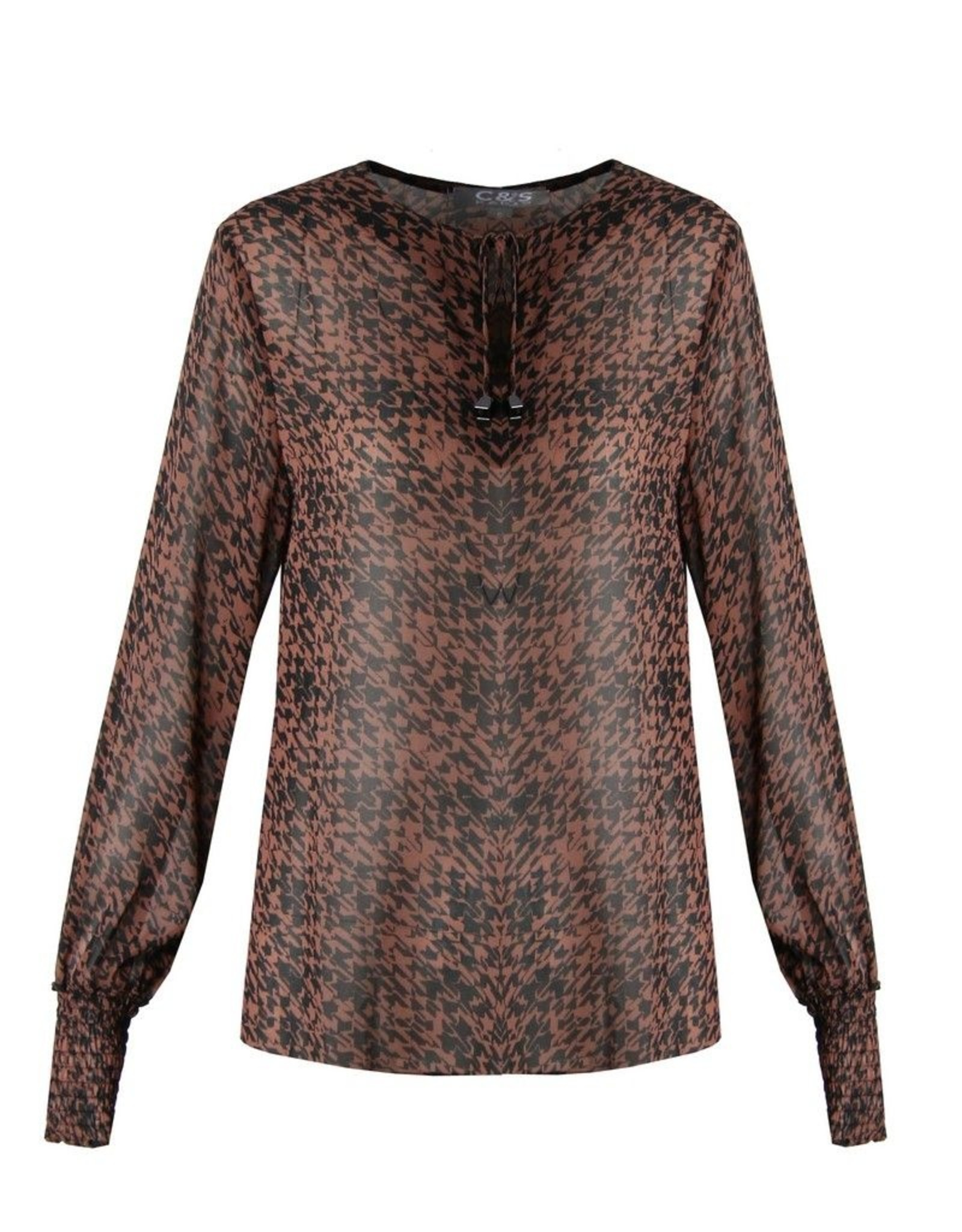 C&S Blouse Rust brown With Black