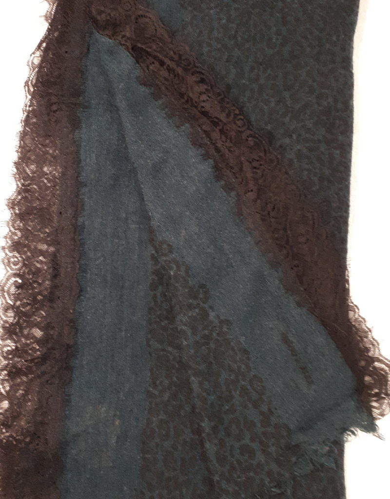 C&S Scarf Green with Lace 200 x 100cm