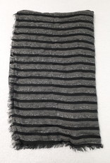 C&S  Scarf Gray Black with Glitters  200 x 87 cm