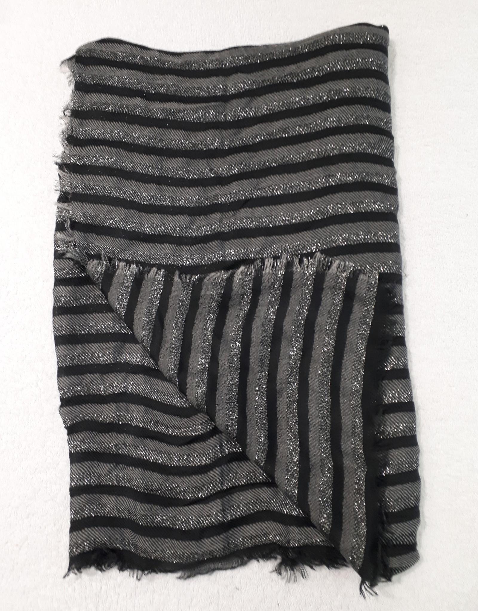 C&S Sjaal Grijs Zwart met Glitters  200 x 87 cm