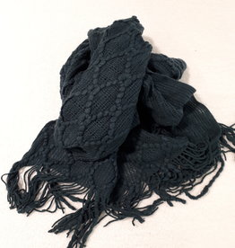 C&S Scarf Dark Green with Fringes 218 x 46 cm