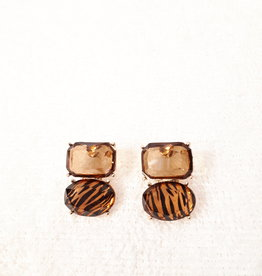 About accessories Stud Earrings with Brown Stone