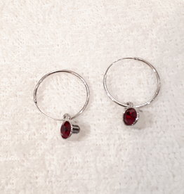 A-Zone Earrings with Red Stone