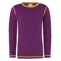 Solid shirt merino wol - paars