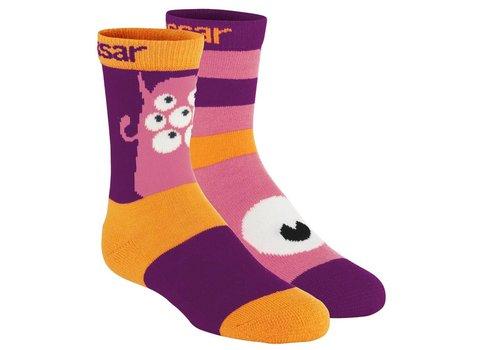 VOSSATASSAR Monster sokken wol (2 paar) - paars
