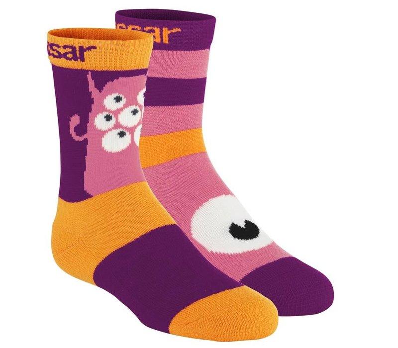 Monster sokken wol (2 paar) - paars