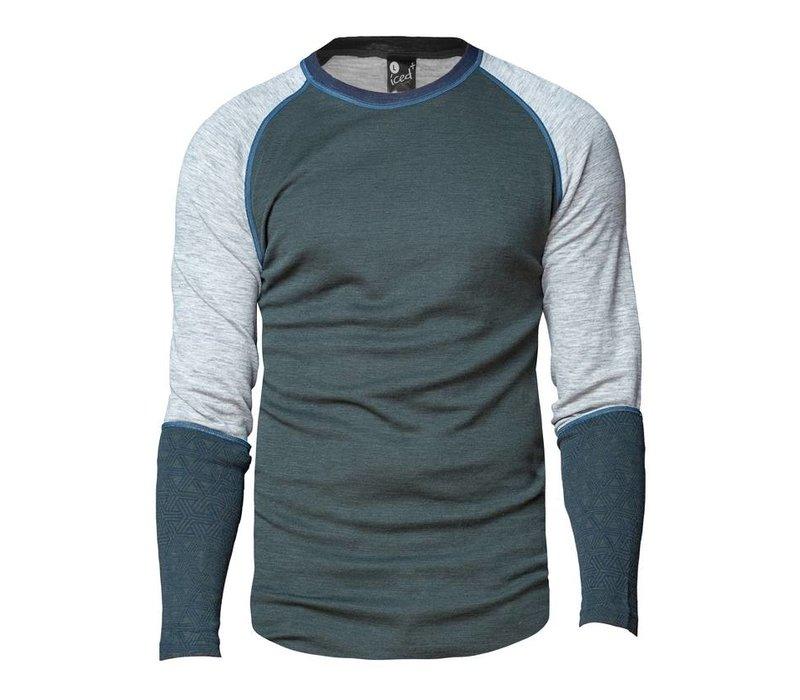 Geo Crew shirt merino wol – olijfgroen