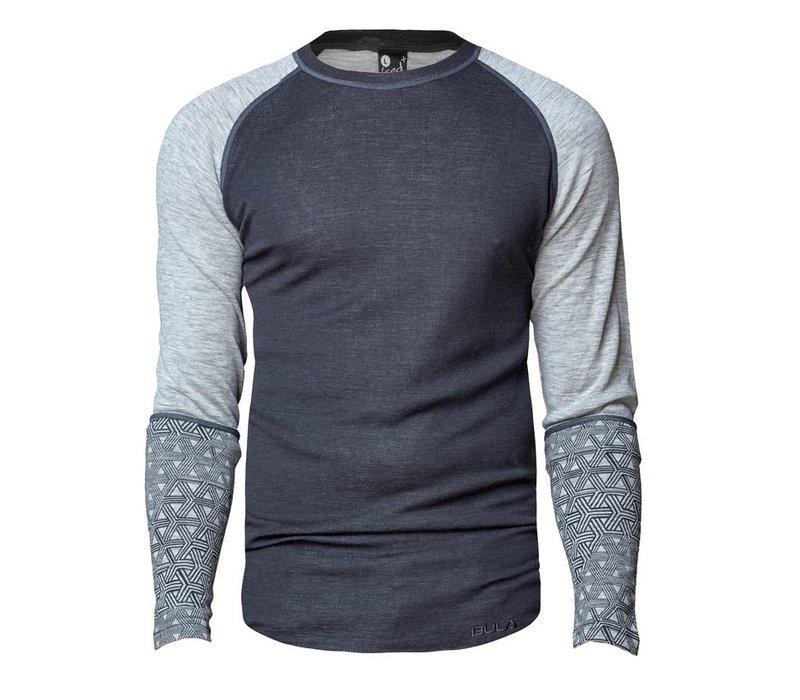 Geo Crew shirt merino wol – grijs