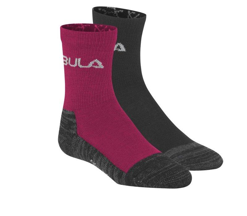 Sokken in wolmix jr (2 paar) – donker roze
