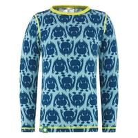 Monster shirt merino wol - blauw