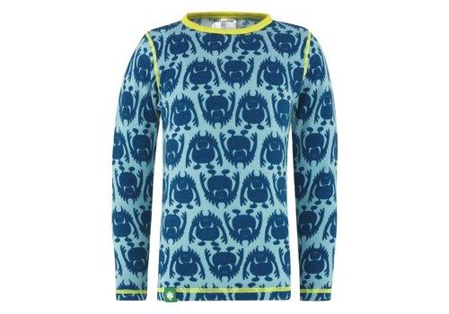 VOSSATASSAR Monster shirt merino wol - blauw
