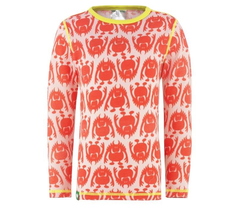 Monster shirt merino wol - roze