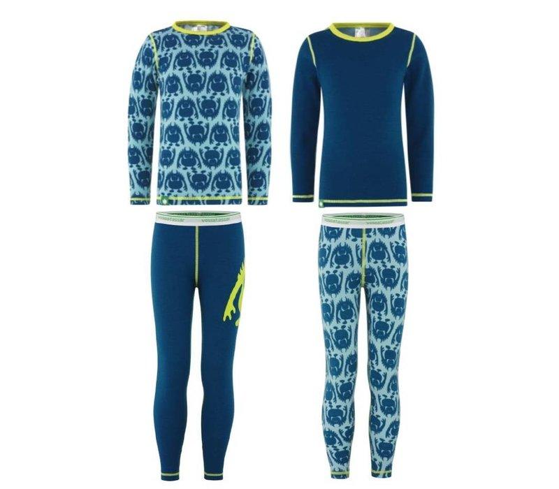 Solid shirt merino wol - blauw
