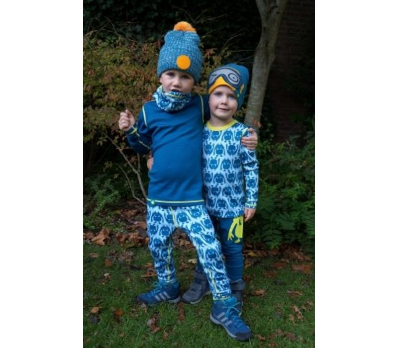 Solid legging merino wol - blauw