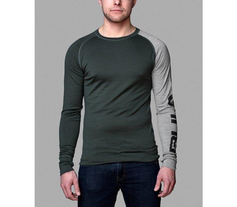 Attitude shirt merino wol – olijfgroen