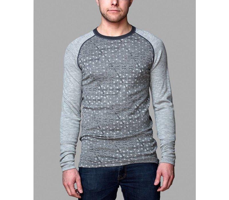 Geo shirt merino wol – grijs