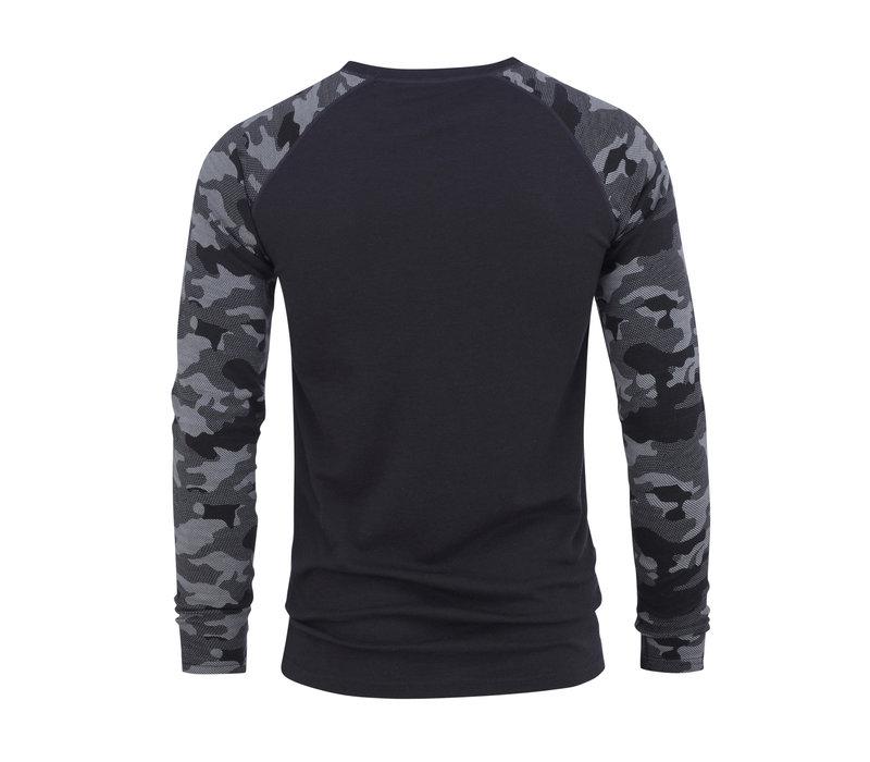 Camo shirt merino wol – grijs