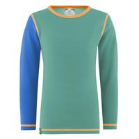 Solid shirt merino wol - mint/blauw
