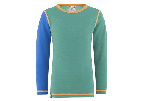 VOSSATASSAR Solid shirt merino wol - mint/blauw