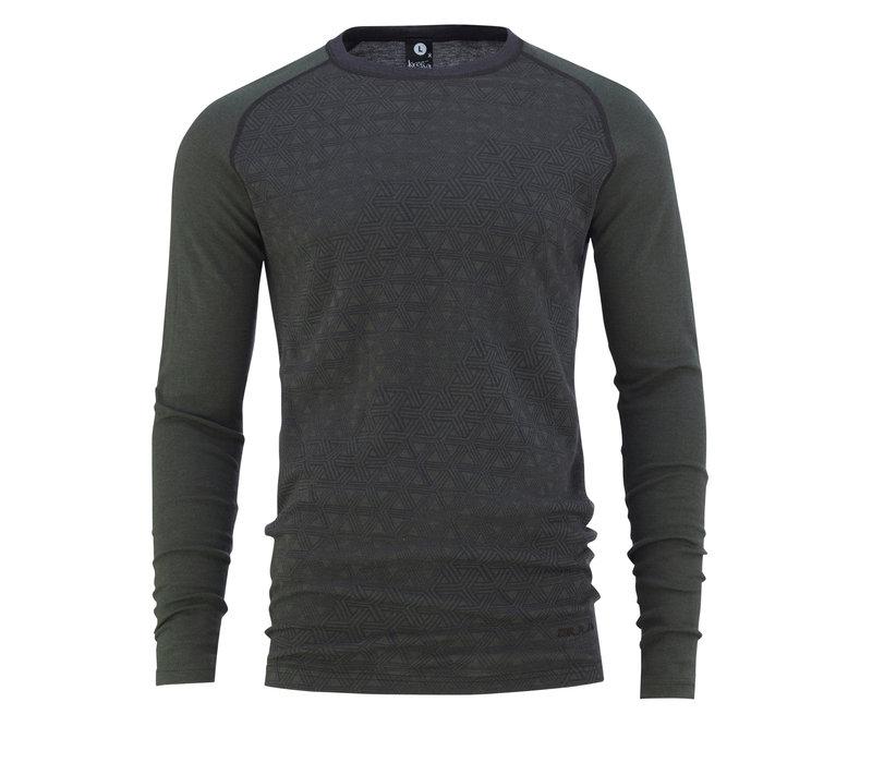 Geo shirt merino wol – olijfgroen
