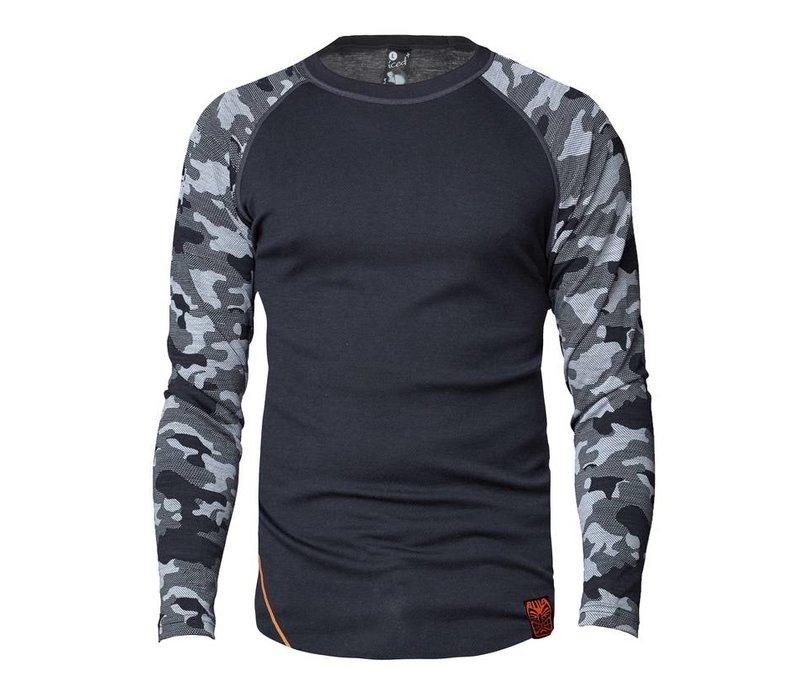 Camo shirt merino wol – donkergrijs