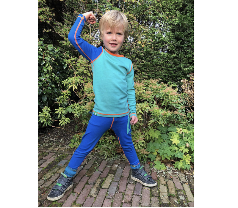 Solid legging merino wol - mint/blauw