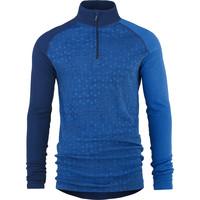 Geo Zip shirt merino wol – blauw