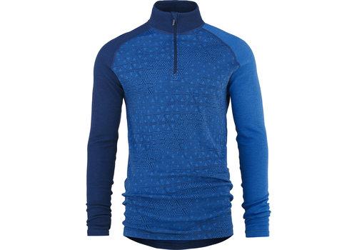Bula Geo Zip shirt merino wol – blauw