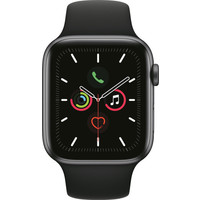 thumb-Apple Watch Series 5 (44mm) aluminium, sportbandje Grijs (Zwart)-1