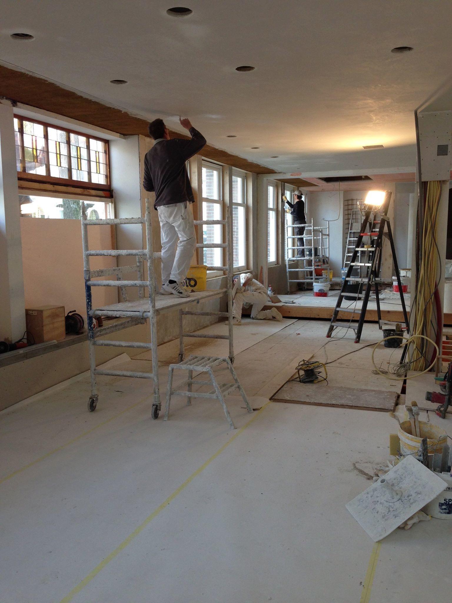 Biologisch Restaurant Soep en zo WEM klimaat elementen leemplaten wand vloer plafond verwarming kalkstuc
