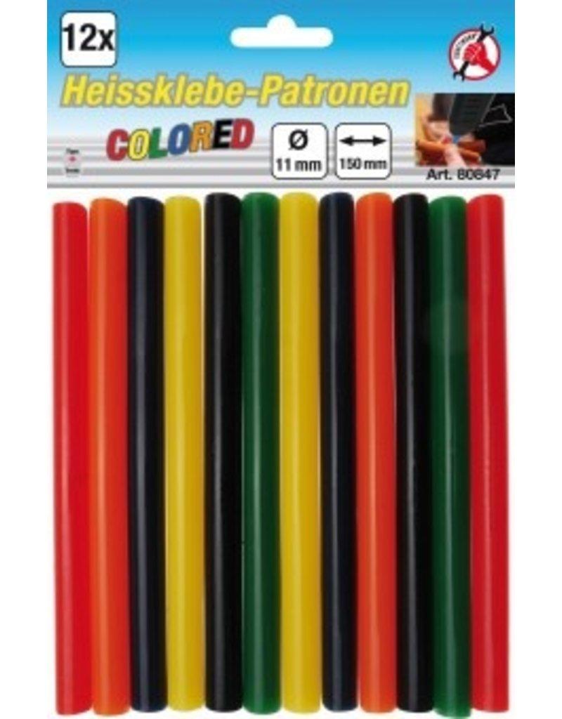 BGS Lijmpatronen kleurrijk  | Ø 11 mm, 150 mm | 12 stuks