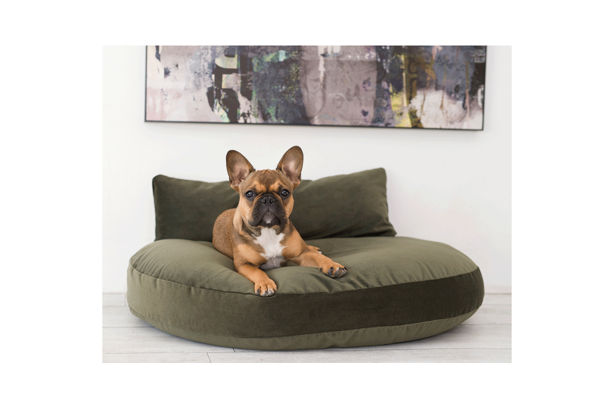Laboni Design hondenkussen Luna fluweel olive