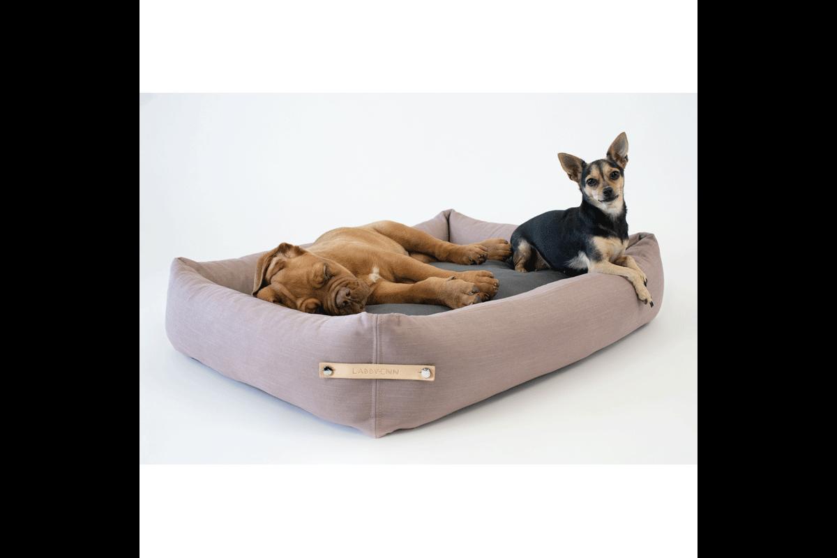Labbvenn Stokke hondenbed roze/grijs