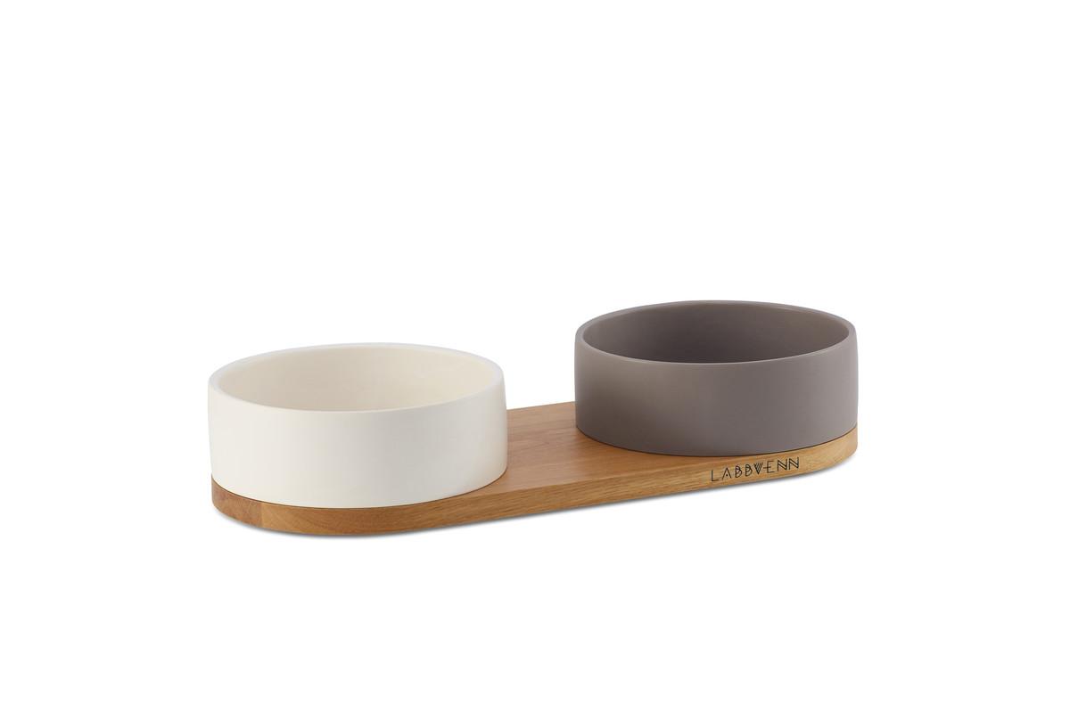 Labbvenn Vuku Ceramic Napfständer 2 Näpfe Weiß&Kakao