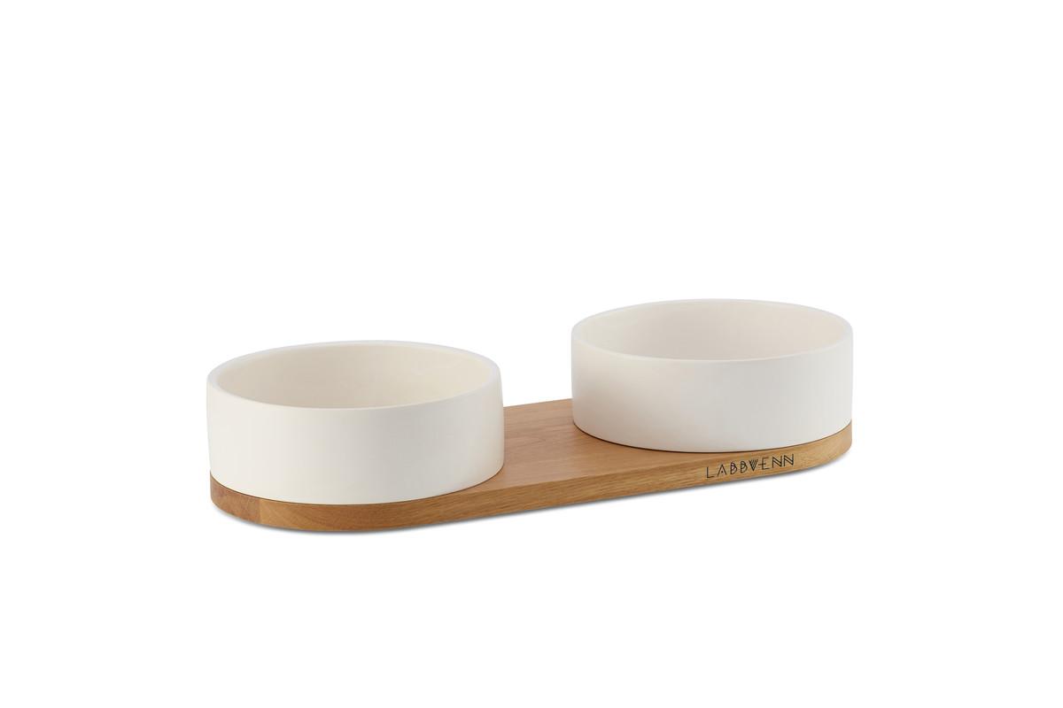 Labbvenn Vuku Ceramic Napfständer 2 Näpfe Weiß
