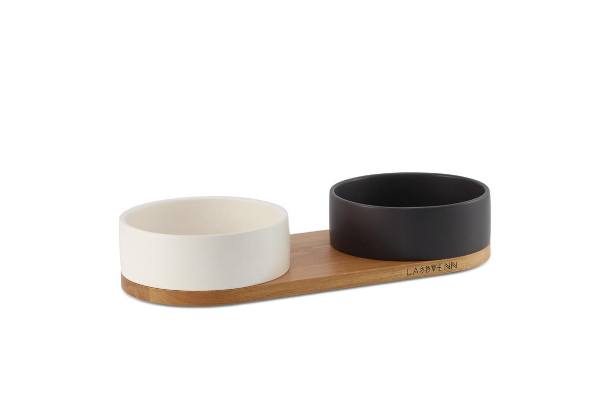 Labbvenn Vuku Ceramic Dubbele Voerbakset Wit&Zwart