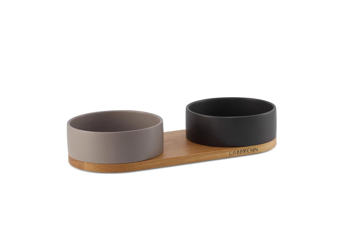 Labbvenn Vuku Ceramic Napfständer 2 Näpfe Schwarz&Kakao