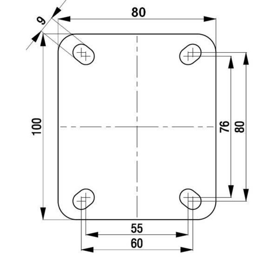 Apparaten zwenkwiel, 125 mm - A3-125