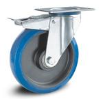 Elastisch blauw rubber wielen