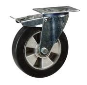 Rueda giratoria de goma elástico negro con freno 125 mm - 250 kg
