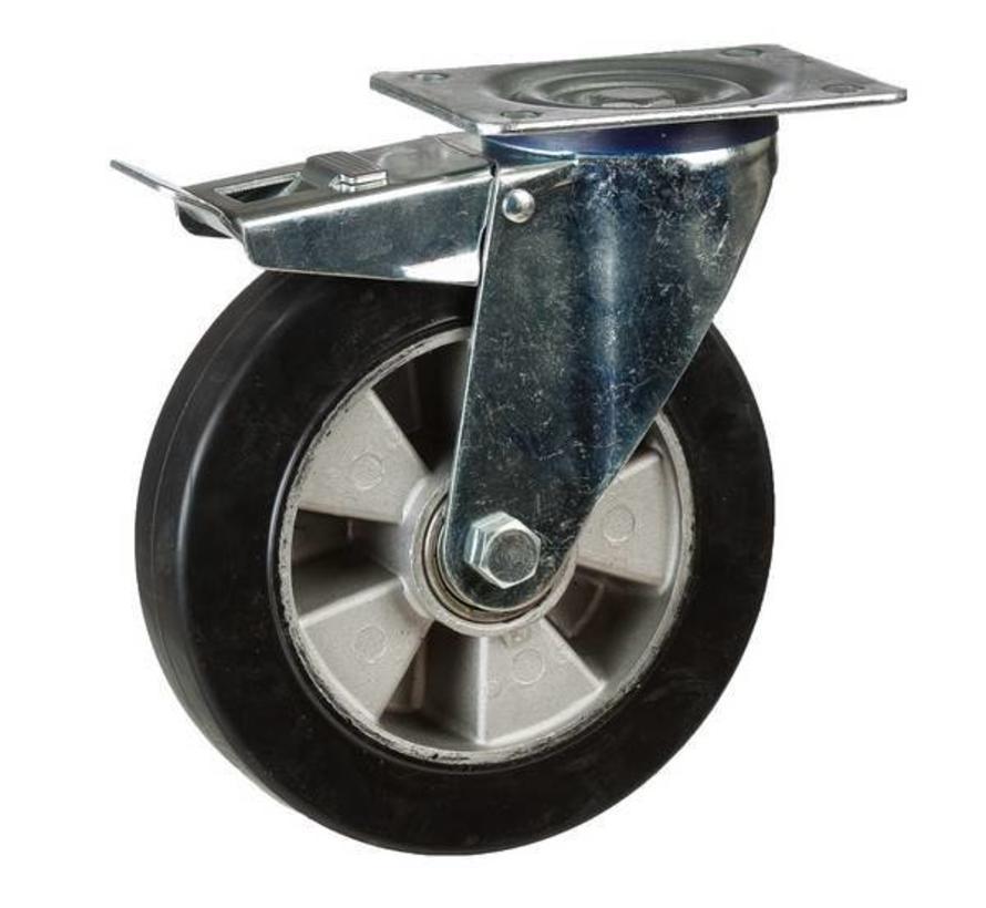 Rueda giratoria de goma elástico negro con freno 125 mm - RA4-125