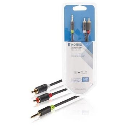 Stereo Audiokabel 3.5 mm Male - 2x RCA Male 5.00 m
