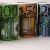 Spaar blik, Euro biljetten.