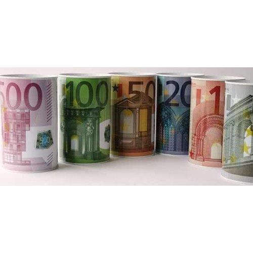 euro Spaar blik, Euro biljetten.