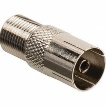 Valueline Coax-Adapter F F-Connector Female - Coax Female (IEC) Zilver